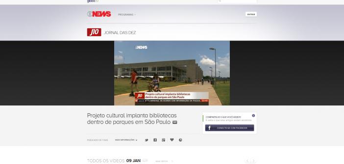 Jornal das Dez - Projeto cultural implanta bibliotecas dentro de parques em São Paulo - globo.tv 2015-01-09 11-59-41