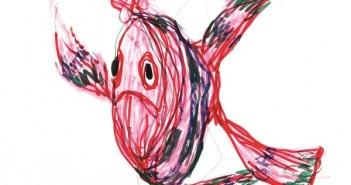 Desenho de um peixe que faz parte da exposição Vilanova Artigas - A mão livre do vovô, em cartaz na Biblioteca Parque Villa-Lobos