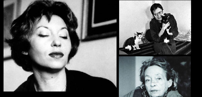 À esq.: Clarice Lispector. À dir. superior: Orides Fontela. À dir, inferior: Marguerite Duras.