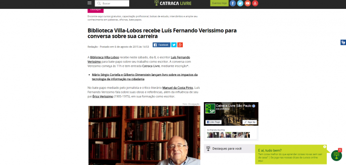 Biblioteca Villa Lobos recebe Luís Fernando Verissimo para conversa sobre sua carreira   Catraca Livre