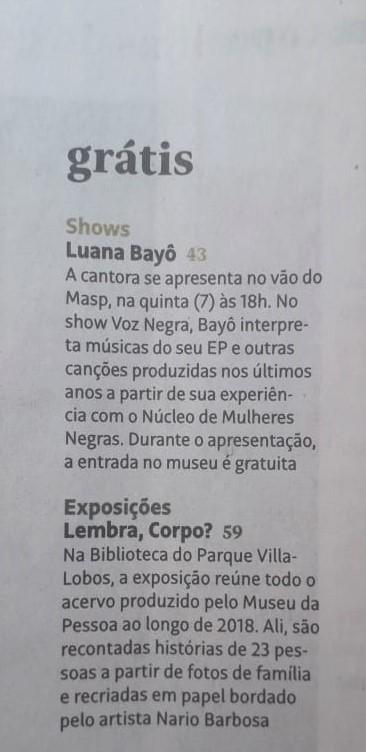 Folha de S.Paulo / Guia da Folha / Coluna Grátis