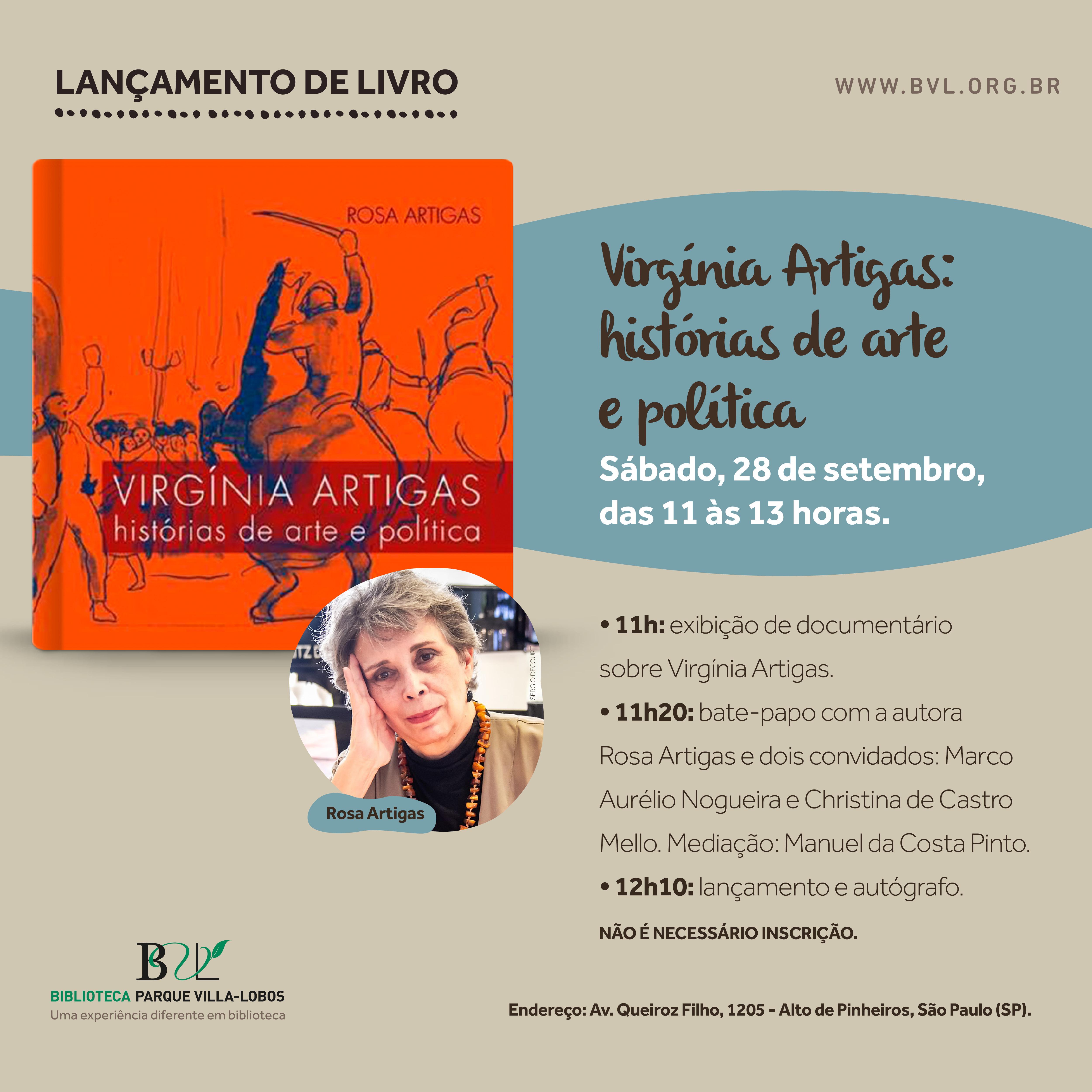 Lançamento do livro Virgínia Artigas - histórias de arte e política