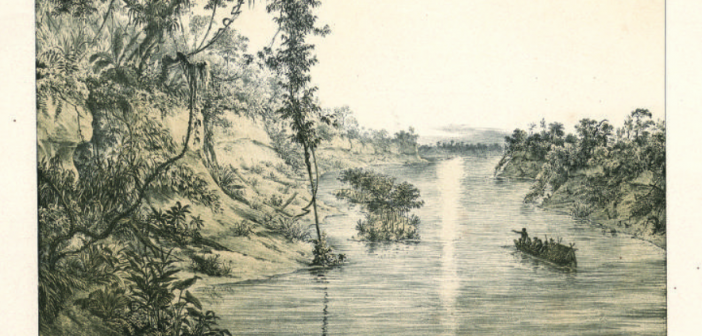 Desenho do explorador Martius sobre o rio Japurá, no Amazonas. Crédito: Biblioteca Estadual da Baviera - Munique, Alemanha.